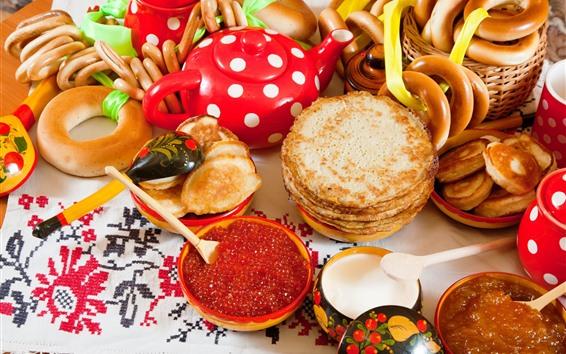Papéis de Parede Caviar, panquecas, pão, leite, café da manhã