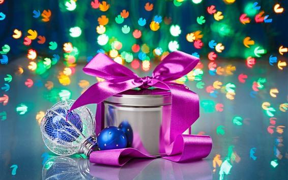 Fond d'écran Noël, cadeau, boules, lumières colorées