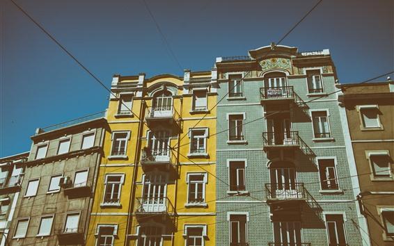 Fond d'écran Ville, Lisbonne, Portugal, bâtiments, fil