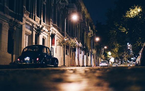 Papéis de Parede Cidade, noite, rua, carros, iluminação