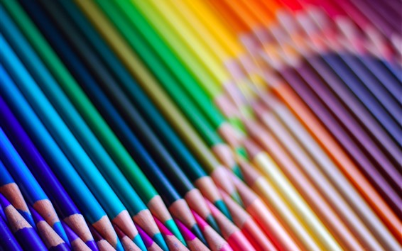 Wallpaper Colorful pencils, rainbow colors, curve