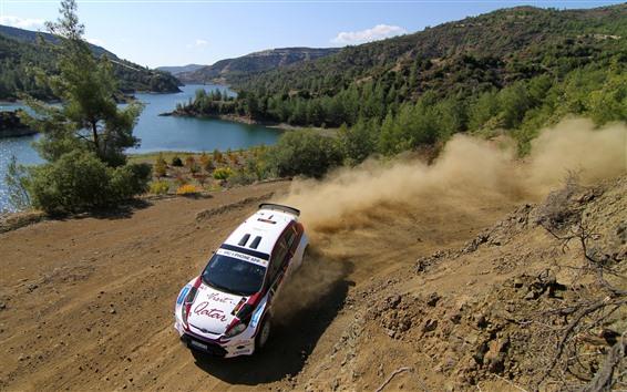 Wallpaper Ford sport car, dust, lake, trees