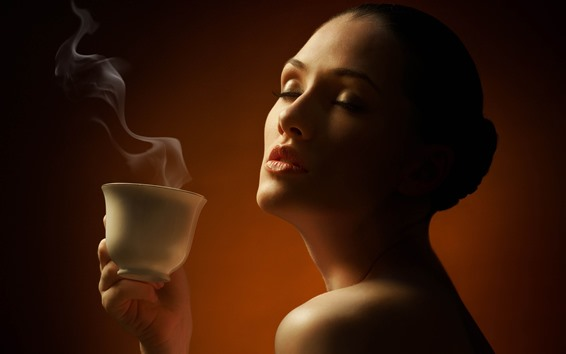 Wallpaper Girl and coffee, steam