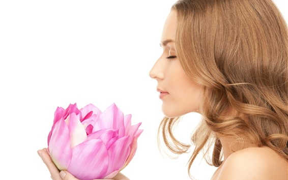 Wallpaper Girl and pink lotus, white background