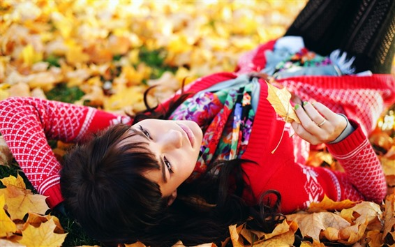 Wallpaper Girl sleep on ground, maple leaves, autumn