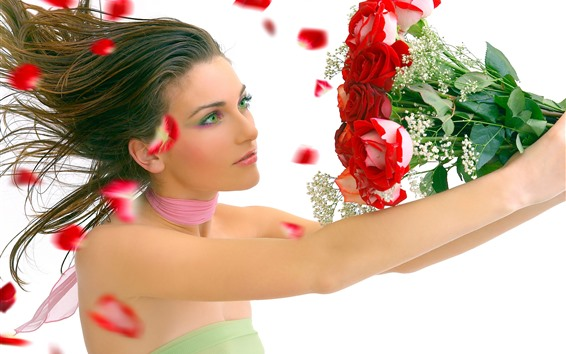Wallpaper Green eyes girl, brown hair, red roses