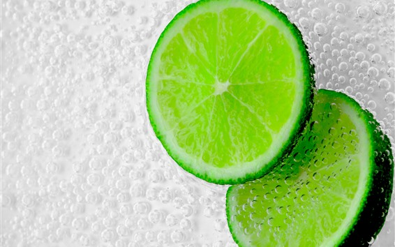 Wallpaper Green lemon slice, bubbles