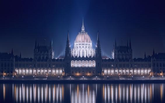 桌布 匈牙利,布達佩斯,建築物,河流,照明,夜晚
