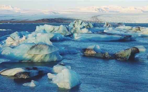 Wallpaper Iceberg, ice, sea, mountains, cold