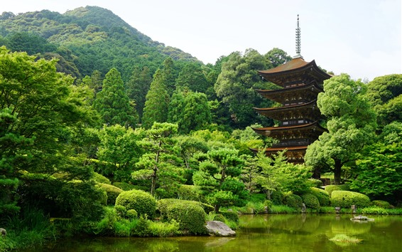 Wallpaper Japan, Yamaguchi, park, trees, tower, pond, green