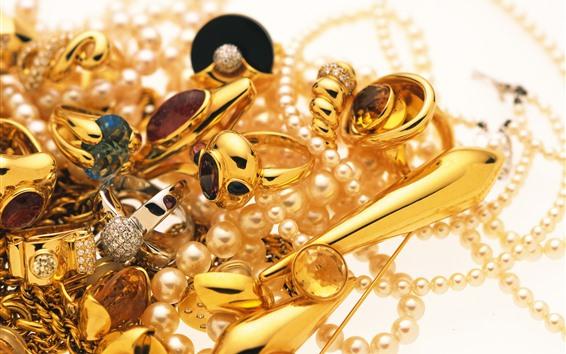 Fond d'écran Bijoux, or, bague, perle