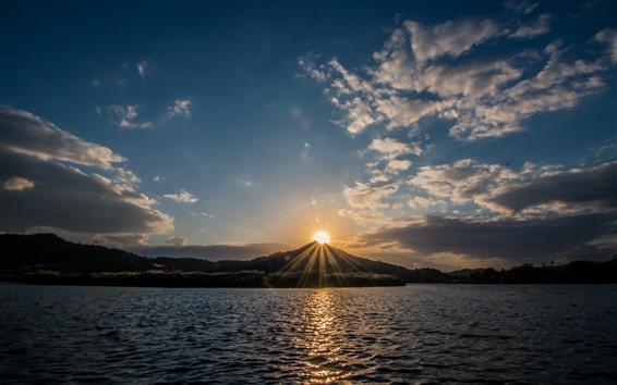 Wallpaper Lake, mountain, sunset, clouds, sun rays