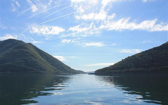 Обои Озеро, горы, небо, облака, природа, пейзажи