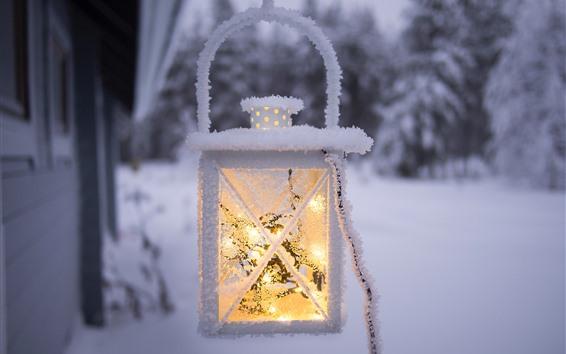 Fond d'écran Lumière, lanterne, neige, gel, hiver