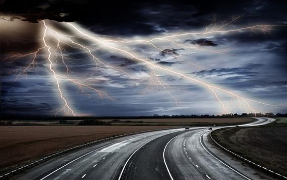 Fondos de pantalla Rayo, camino, tormenta, nubes