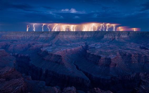 Fondos de pantalla Rayo, rocas, nubes, tormenta