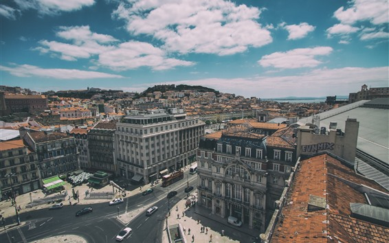 Wallpaper Lisbon, Portugal, top view, city, houses, cars, roads