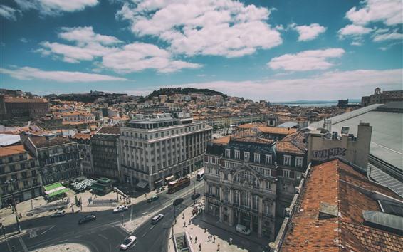 Fond d'écran Lisbonne, Portugal, vue de dessus, ville, maisons, voitures, routes