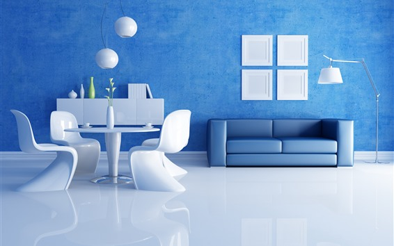 Wallpaper Living room, sofa, lights, blue wall