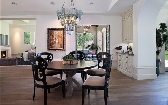 Fond d'écran Salon, table, chaises, luminaires, canapé, cheminée, intérieur