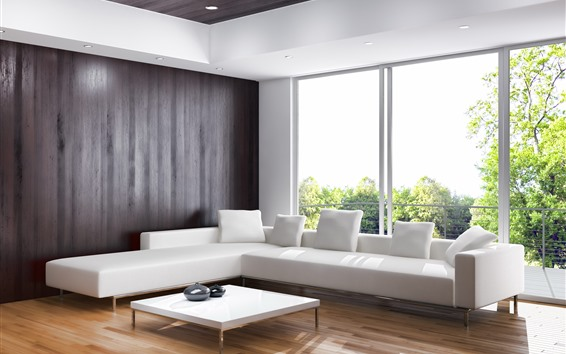 Papéis de Parede Sala de estar, sofá branco, interior, janela, luz do sol