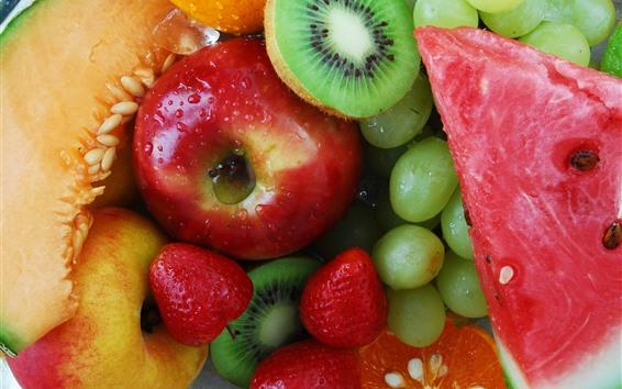 Wallpaper Many kinds fruit, grapes, apple, melon, watermelon, strawberry, kiwi