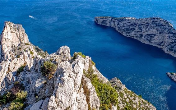 Hintergrundbilder Marseille, Felsen, blaues Meer, Frankreich
