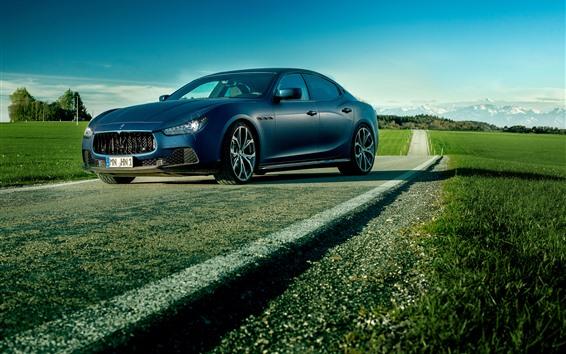 Wallpaper Maserati supercar, fields, road