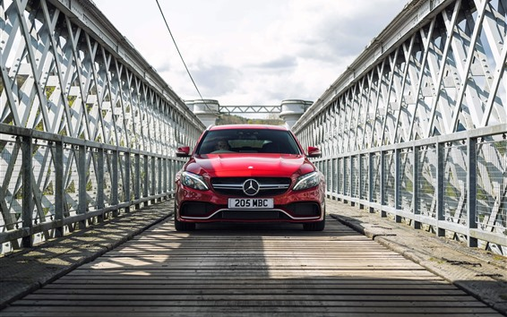 Wallpaper Mercedes-Benz red car front view, bridge