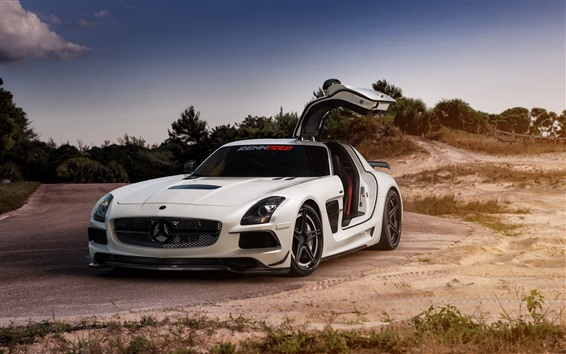 Wallpaper Mercedes SLS white supercar