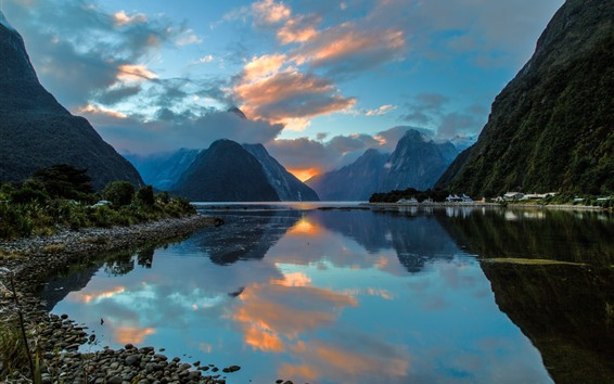 Wallpaper Milford, New Zealand, lake, mountains