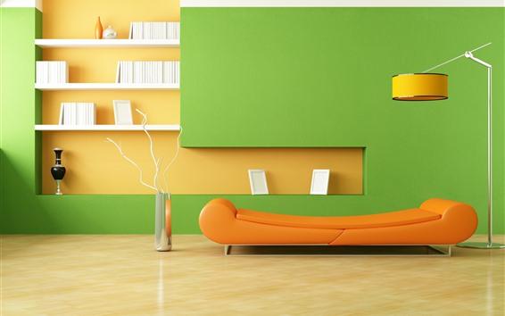 Обои Минималистская комната, диван, лампа, оранжевый и зеленый стиль, дизайн интерьера