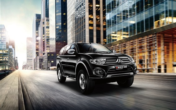 Hintergrundbilder Mitsubishi Pajero schwarzes Auto, Geschwindigkeit, Stadt