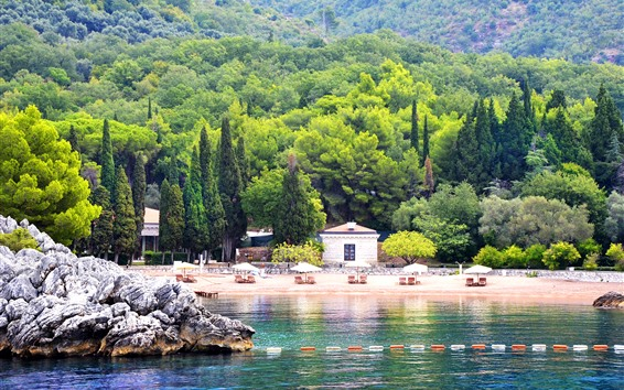 Fondos de pantalla Montenegro, árboles, mar, playa, resort
