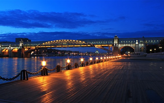 Wallpaper Moscow, night, bridge, river, lights, Russia