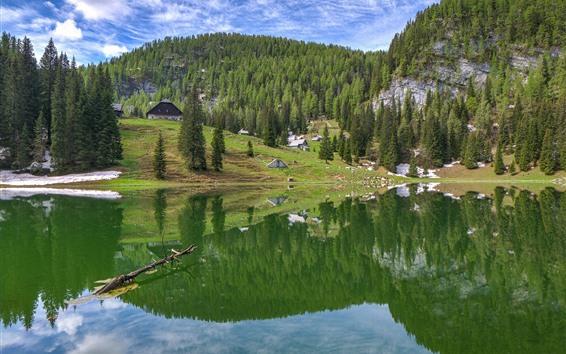 Papéis de Parede Montanha, lago, reflexão da água, árvores, casas, vila