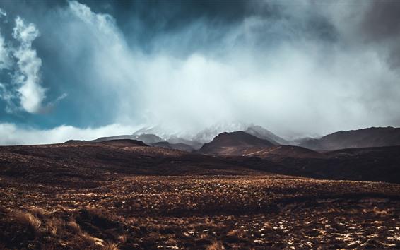 Обои Горы, трава, туман, облака, природа пейзаж