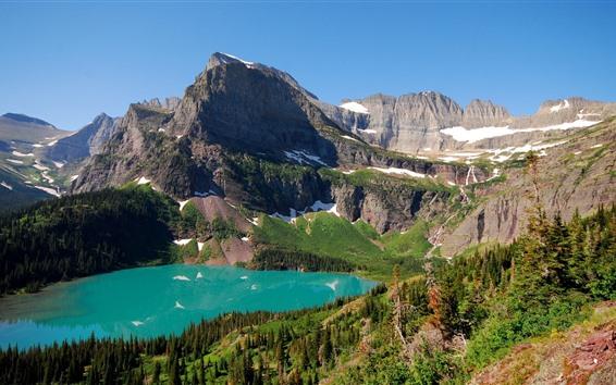 Fond d'écran Montagnes, lac, neige, arbres, paysages naturels