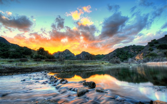 Обои Горы, река, закат, облака, ручей, США