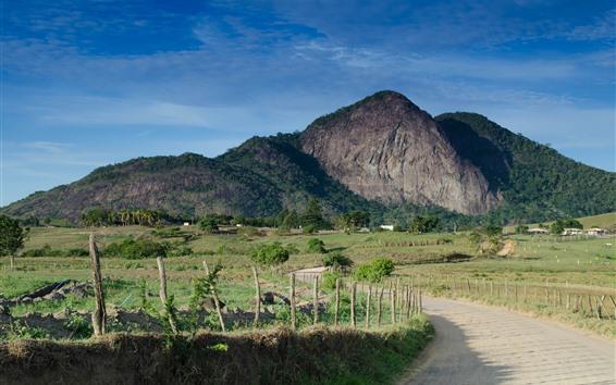 Обои Горы, дорога, забор, сельская местность