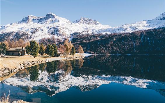 배경 화면 산, 눈, 나무, 호수, 물 반사, 겨울