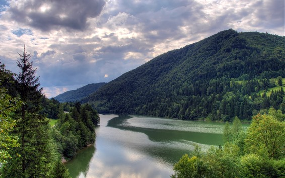 Fond d'écran Montagnes, arbres, rivière, paysages naturels