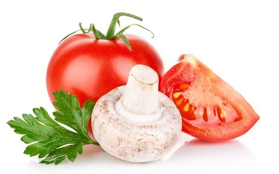 Fondos de pantalla Champiñones y tomate, fondo blanco