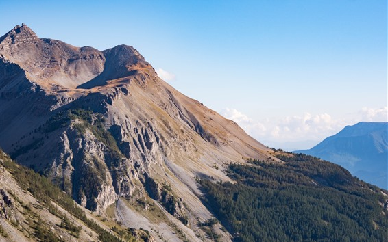 Wallpaper Nature landscape, slope, high, mountain top, trees, sky