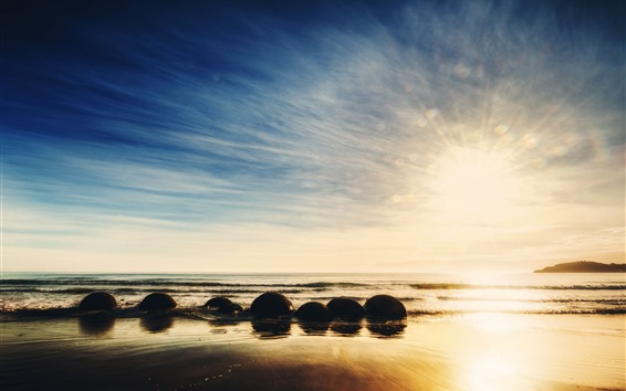Wallpaper New Zealand, sea, stones, sunrise, sky, glare