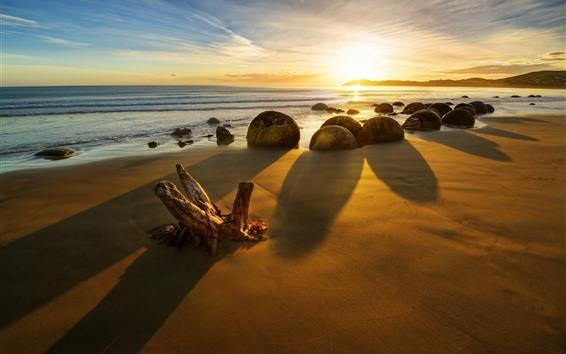 Wallpaper New Zealand, sea, stones, sunset, rocks, beach