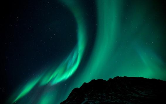 Wallpaper Northern lights, starry, stars, night, mountain