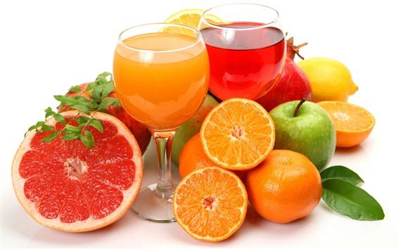 Обои Апельсины, яблоки, лимоны, две чашки сока