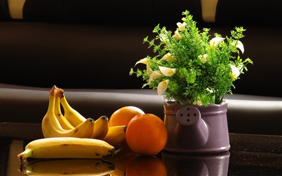 Обои Апельсины, банан, цветы, ваза