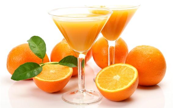 Обои Апельсины, стеклянные чашки, соки, напитки